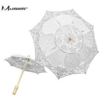 Meetcute Battenburg Lace Umbrella White Wedding lace Umbrella Parasol Vintage Umbrella for Bridesmaid