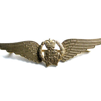 Vintage Brooch, Large Wings Brooch, Brass Eagles Wings Pin, Military Brooch, Laurel Wreath, Crest Brooch, Gold Tone Pin, Vintage Accessories