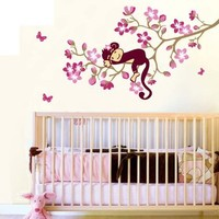 Monkey Hanging Over Tree Kids/nursery - Easy Wall Decor Sticker Wall Decal