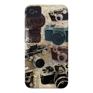 Vintage Grunge Retro Cameras Pattern iPhone 4 Case-Mate Case from Zazzle.com