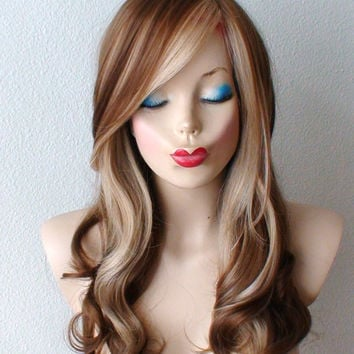Brown/ blonde wig. Long Curly hair Long side bangs Fashion ombre hairstyle High quality wig for Daily use or Cosplay.