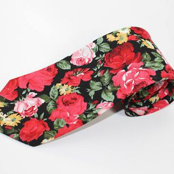 "Floral Tie 3.4"" 100% Cotton Boyfriend Gift Men's Gift Anniversary Gift for Men Husband Gift Wedding Gift For Him Groomsmen Gift for Friend"