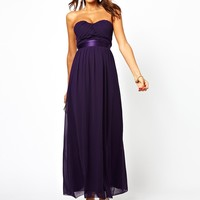 Elise Ryan Bandeau Maxi Dress with Satin Waist