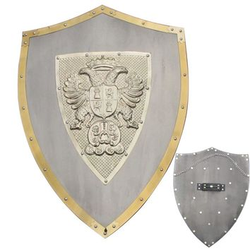 "24"" Medieval Lion Knights Shield Armor with Sword Holder Steel Material"