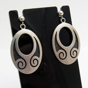 Vintage Native American Sterling Earrings Hopi Silver Overlay Jewelry E5557