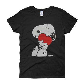 The Peanut Gang Snoopy Hug Heart Love Women'S T Shirt