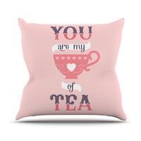 "Daisy Beatrice ""My Cup of Tea"" Pink Purple Throw Pillow"