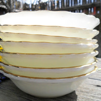 7 Vintage Anchor Hocking Suburbia White & Gold Dessert Bowls - Mid Century Berry Dish
