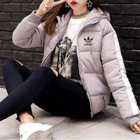 """Adidas"" Women Fashion Letter Multicolor Stripe Zip Cardigan Hooded Long Sleeve Short Section Down Coat Cotton-padded Clothes"