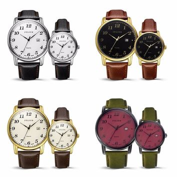 JULIUS Couples  Watch Japan Quartz Hours Auto Date Fine Fashion Clock Leather Strap  Retro  Couple's Birthday Gift