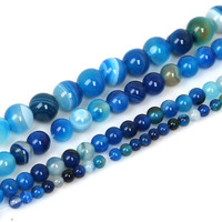 High Quantity AAA+ Natural Stone Beads Blue Stripe Onyx Round Bead 4mm 6mm 8mm 10mm Pick Your Size-in Beads from Jewelry & Accessories on Aliexpress.com | Alibaba Group