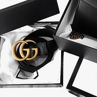 GUCCI Classic Trending Stylish Smooth Buckle Belt Leather Belt+Gift Box Black I/A