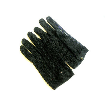 Black Open Weave Crochet Italian Gloves