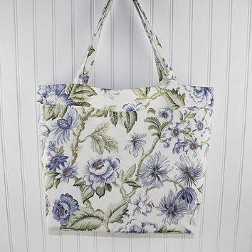 Soft Blue Floral Large Tote Bag, Large Farmers Market Bag, Reusable Grocery Bag, MK116