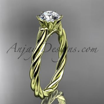 "14k yellow gold rope engagement ring with a ""Forever One"" Moissanite center stone RP835"