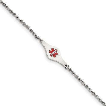 925 Sterling Silver 2mm Rhodium-plated Medical ID Rope Link Chain Necklace, Bracelet or Anklet
