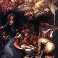 Abraham Bloemaert Adoration of the Shepherds painting for sale, painting - $95.00