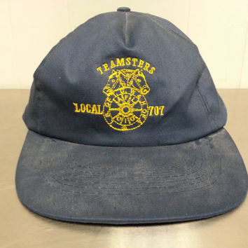 Vintage 80's Teamster Local 707 Snapback Dad Hat Horses Labor Union International Brotherhood of Teamsters