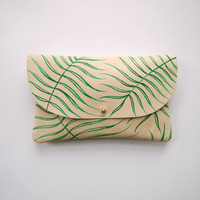 Wild Fern Wallet Pouch - Hand Painted Leather