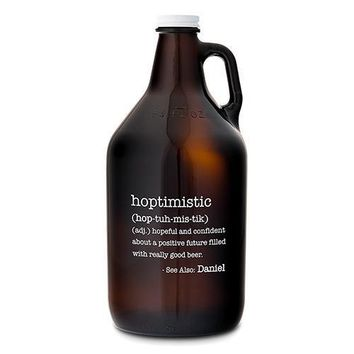 Personalized Glass Beer Growler - Hoptimistic Print (Pack of 1)