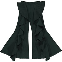CAROLINE BOSMANS - Cotton Fleece Flared Pants in Dark Green
