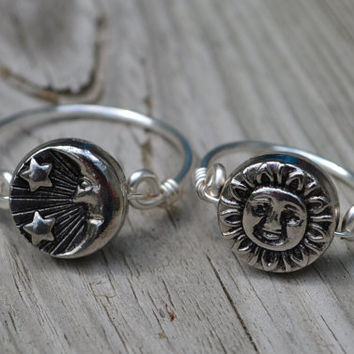 Boho Moon Sun Ring- 2 simple rings in 1 Sterling Silver Plated Reversible Spinning Pagan Boho Wiccan Steampunk Fantasy Crescent Moon Lunar