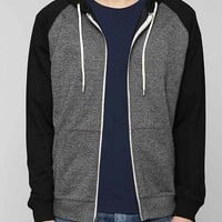 BDG Raglan Zip-Up Hooded Sweatshirt-