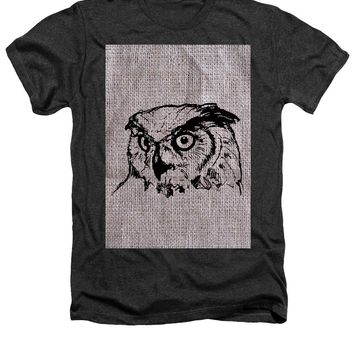 Owl On Burlap - Heathers T-Shirt