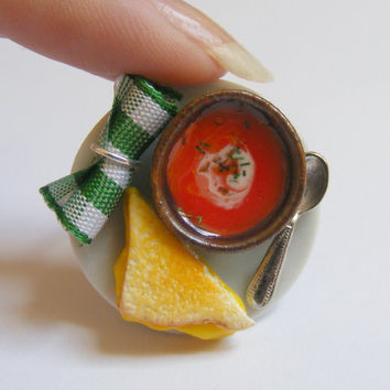Food Jewelry Grilled Cheese and Tomato Soup Miniature Food Ring - Miniature Food Jewellery,Mini Food Jewelry,Handmade Jewelry,Dolls House
