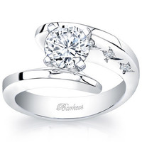 "Barkevs 14K White Gold ""Starnish"" Round Cut Diamond Engagement Ring"