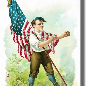 Boy Marching with American Flag Picture on Acrylic , Wall Art Decor, Ready to Hang!