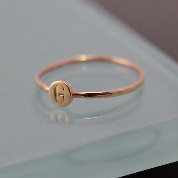 Tiny Dot Ring SOLID 14k Rose Gold Sparkly Faceted Band with  Hand Cut Circle Disc Stacking Ring Personalized Monogram Initial