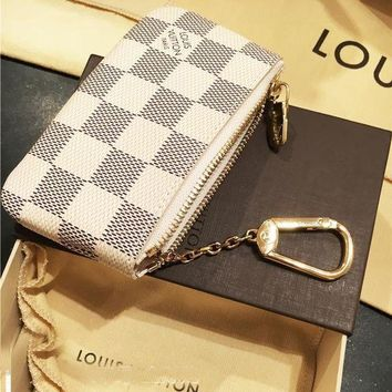 LV Women Fashion Trending Shopping Leather Tote Handbag Shoulder Bag Wallet Clutch Bag Wristlet Set Two-Piece Key Pouch G