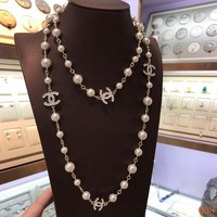 HCXX 19Sep 868 Fashion Classic Double-sided inlaid rhinestones pearl sweater chain
