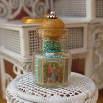 Elegant Jar of French Bath Pearls in dollhouse miniature by LittleWooStudio