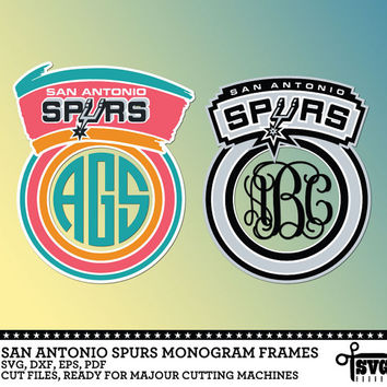 San Antonio Spurs Monogram Frames. Vector Digital Cut Files. SVG, dxf, eps, pdf for Silhouette, Cricut, SCAL yeti vinyl Die Cutting CF-69