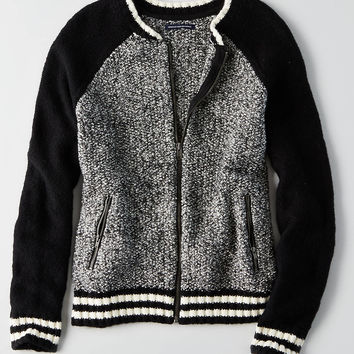 AEO Sweater Bomber Jacket , Black