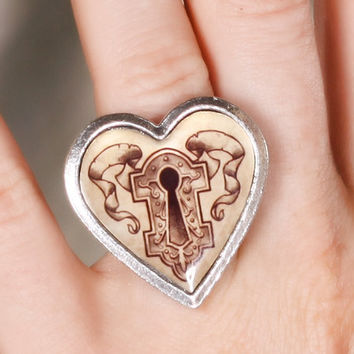 Classic Hardware Jewelry - Keyhole Art Stainless Steel Heart Ring with Original Tattoo Art by Hannah Aitchison
