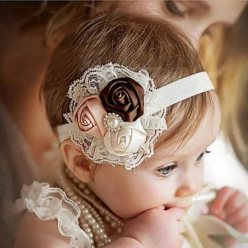Newborn Headwear baby girl Wear Flower headbands Pink Lace Hair Bands Girl Felt Flower Scarf Hair Accessories Party Headband