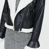 Missguided - Black Cropped Bell Sleeve Pilot Jacket