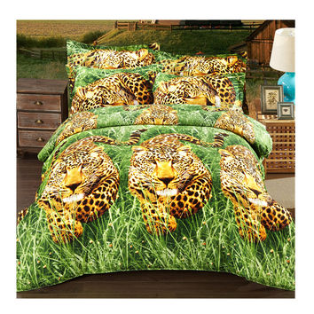 3D Active Printing Bed Quilt Duvet Sheet Cover 4PC Set Upscale Cotton L Size 014