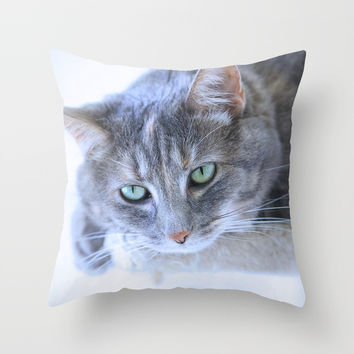Aqua Eyes Throw Pillow by Theresa Campbell D'August Art