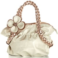 MG Collection CANDICE Flower Soft Metallic Weaved Handle Hobo Handbag