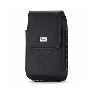 VERTICAL LEATHER POUCH TREO 650 BLACK WITH MEGNETIC AND METAL BELT CLIP (4.4X2.3X0.9 INCHES)