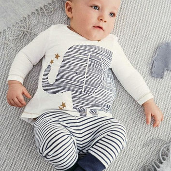 baby Boy  Long-sleeved elephant T-shirt + striped pants