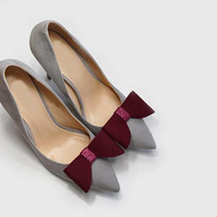 Burgundy bow - shoe clips, glitter and leather, shoe accessories, wedding shoe