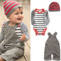 Hot selling New arrival Baby suit Boy clothes Kid overalls + Baby Romper + Cap 3pcs/set baby boy suit Made of cotton/ Sport set - Default