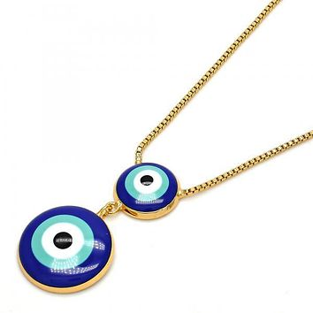 Gold Layered Fancy Necklace, Greek Eye and Box Design, Gold Tone