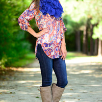 Faded Paisley Blouse, Blue/Orange