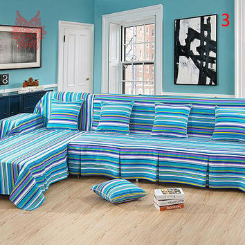 Crazy limited offer 1pc 200*300cm cotton/linen Canvas Sofa cover Pastoral Brief slipcovers blue striped cover SP2533